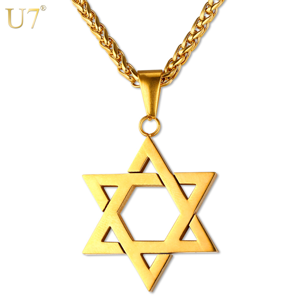 U7 Jewish Jewelry Magen Star of David Pendant Necklace Women Men Chain Gift Gold Color Stainless Steel Israel Necklace P723(China (Mainland))