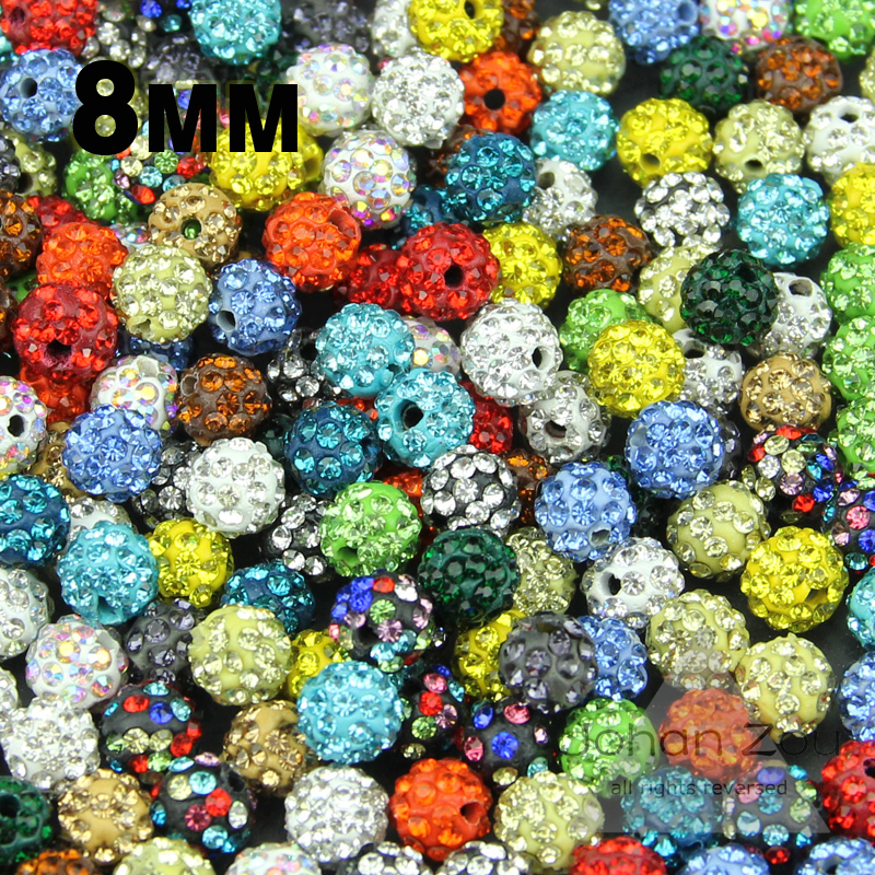 Wholesale High quality 8MM 20pcs Loose bead Clay Disco Ball Pave Crystal Shamballa Beads Jewelry necklace bracelets Making DIY()