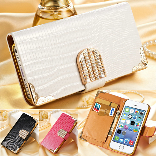 Luxury 5S Wallet Crystal Bling PU Leather Case For iPhone 5 5S New Mobile Bags Rhinestone Gold Back Cover Cases for iPhone5(China (Mainland))
