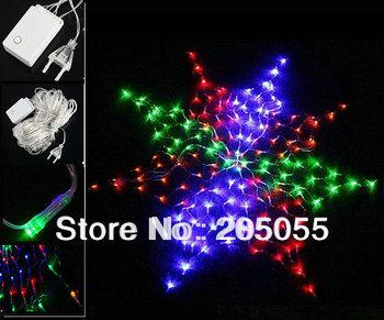Colorful LED Chirstmas light 160 LED Wedding Giant star Net Lights for Christmas Xmas Wedding Party Decoration EU 220V