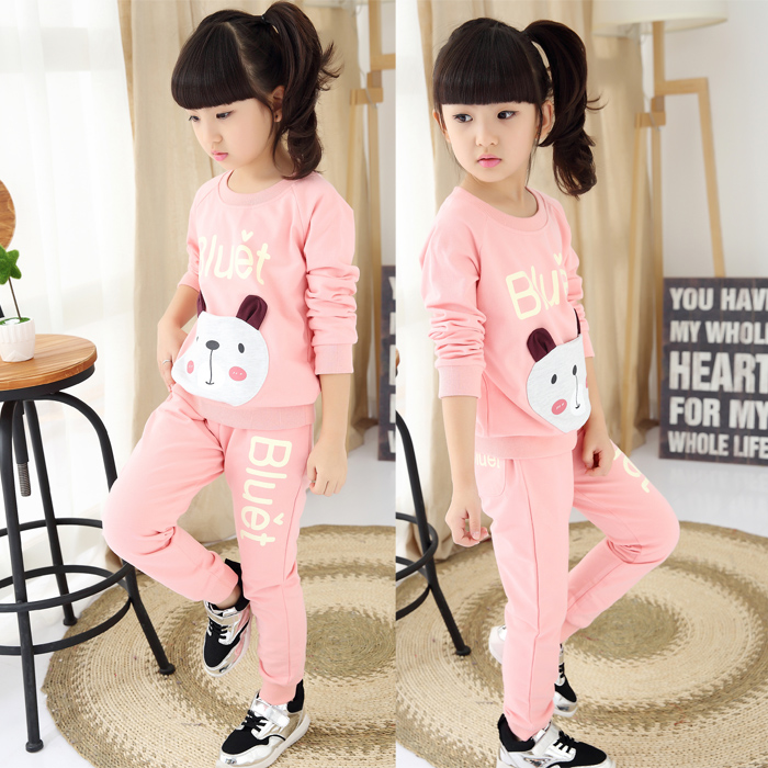 2016 Kids Clothes Bear Girls Baby Children 2pcs Girls Clothing Sets Sports Suits Brand Costume For Girls Teens Children Clothing(China (Mainland))