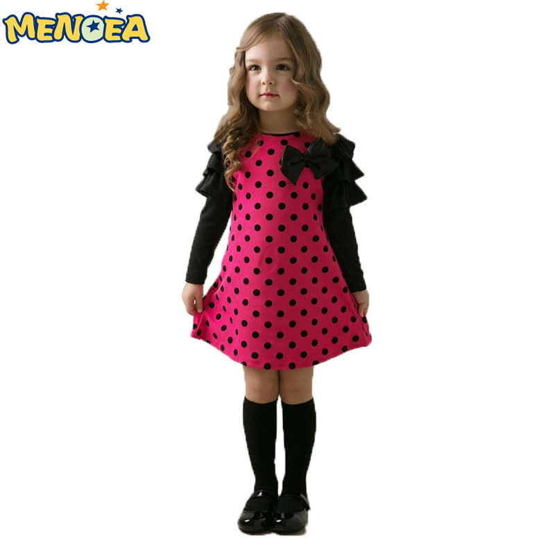 Menoea 2016 New Girl Dress Autumn bow princess dress Children clothes Dot long sleeve 2 colors dresses retail  -  C Jenny store