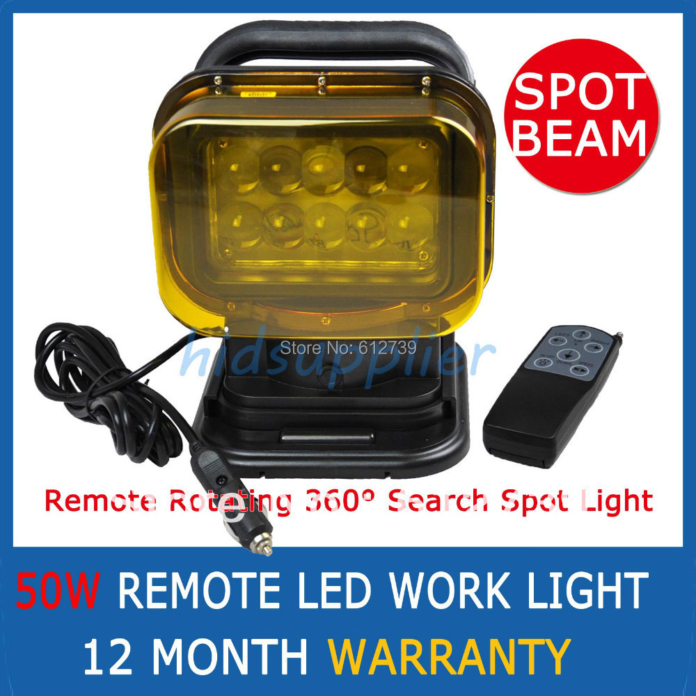 50W Cree LED wireless Remote Control Search Light led off road light fog light for cars ATV trailer jeep yellow cover(China (Mainland))