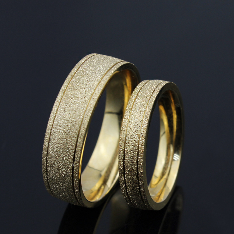 New Frosted Couple Lovers Ring 18 k Gold Engagement Wedding Rings High Quality(China (Mainland))
