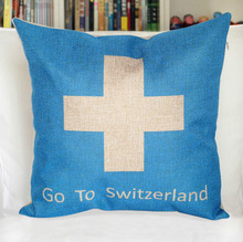 Vintage Style Switzerland flag Printed Cotton linen Pillow Case
