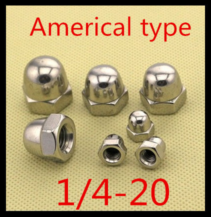 50pcs/lot High Quality 1/4-20 American Type Hex Cap Nut Acorn Dome Head Hex Nuts Decorate nuts(China (Mainland))