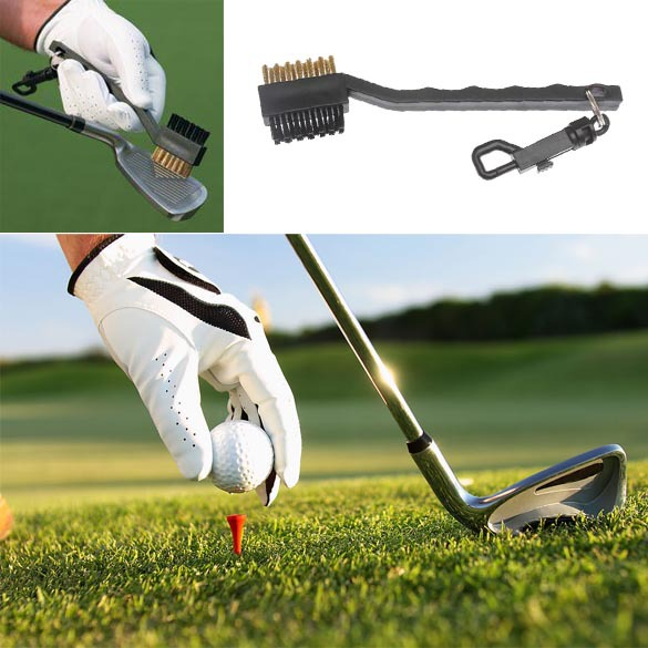 Double Side Brass + Nylon Golf Club Brushes Golf Club Head Groove Cleaner Cleaning Brush Tool Kit with Hanger Black BHU2(China (Mainland))