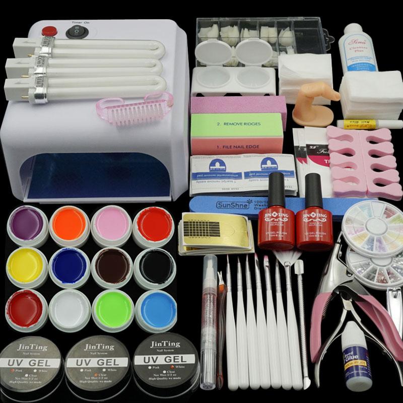 Nail Gel Polish Tools Pro 36W UV GEL White Lamp 12 Color Art Kits manicure set Fashion - JINTING 99 store