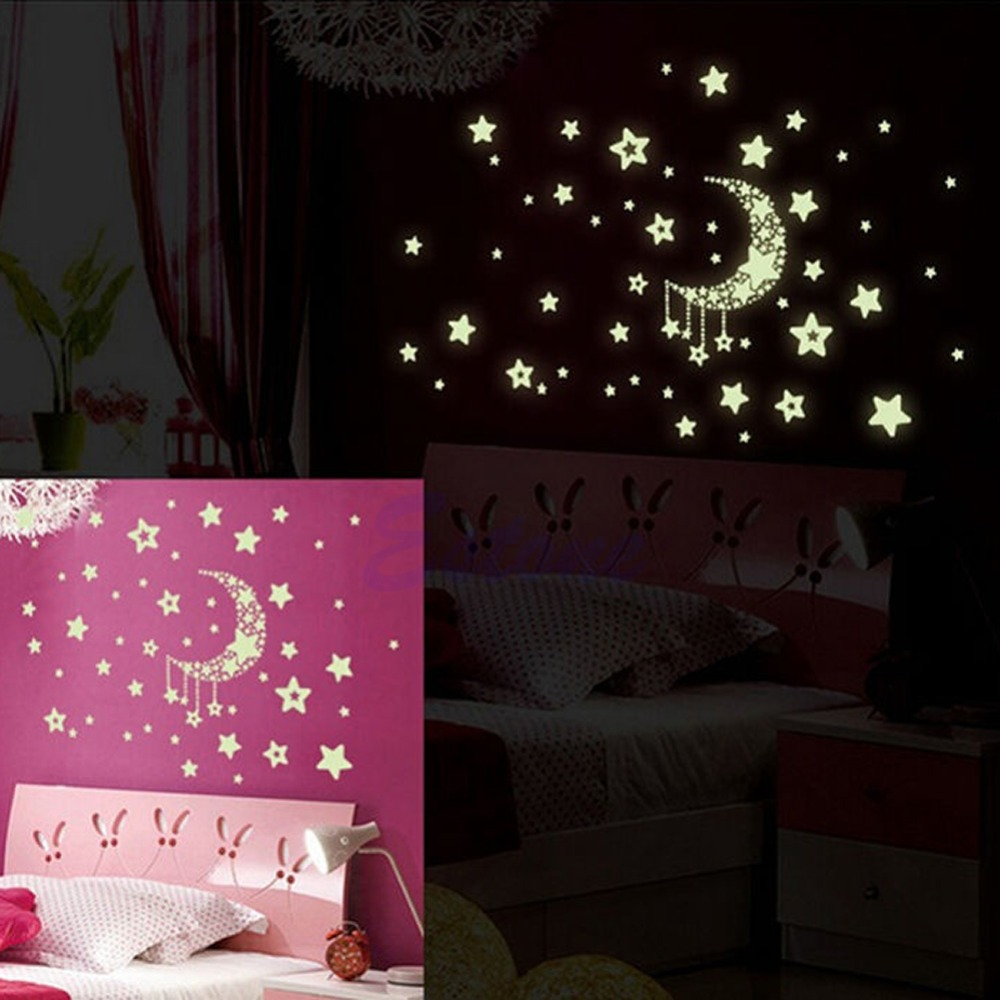A96 Free Shipping Glow In The Dark Moon and Stars Wall Sticker Home Baby Bedroom Decor Luminescent(China (Mainland))