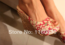 Free Shipping comfortable Bohemian Wedge Women sandals for Lady shoes and Slipper high wedge flip flops Drop shipping