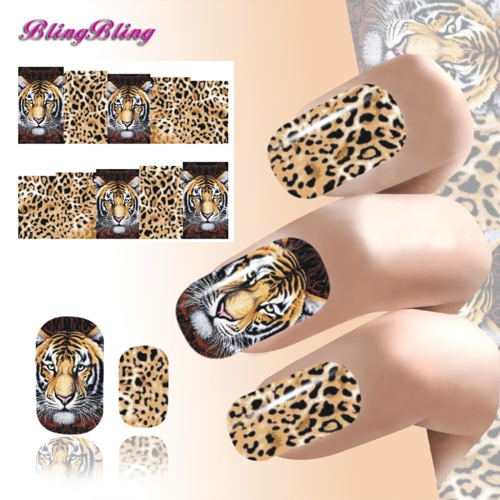2016 Animal Design Nails Art Water Transfer Stickers Tiger Leopard Pattern Nail Wraps Manicure Finger Nail Decals(China (Mainland))