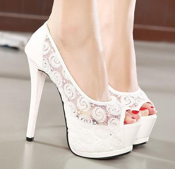 Sexy Women S Ivory White Lace Bridal Shoes Wedding