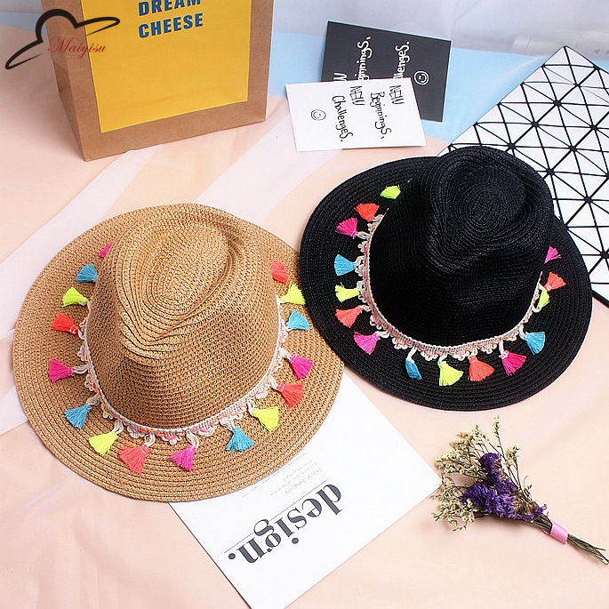 Fashion candy fringed visor Straw Summer Beach Sun hat Jazz panama hat with fringing Women Party Caps Fedora Trilby Gangster Cap(China (Mainland))