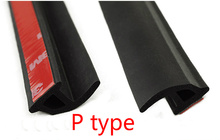 8M   P Shape Hollow Car Auto Door Edge Black Rubber Seal Strip Weatherstrip Air Sealed Self Adhesion(China (Mainland))