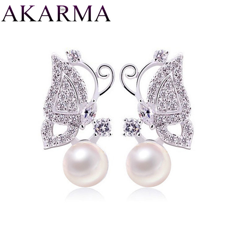 Akarma Natural Pearl Stud Earrings for Women Bijoux 925 Sterling Silver Love Earring Designs Butterfly Cute Jewellery Maker Gift(China (Mainland))