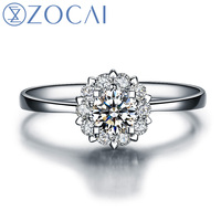 "ZOCAI Drown IN Love "" 1.0 Carat Diameter Effect "" 0.20 CT  Certified Diamond Engagement Women Ring 18K White Gold (Au750) W02967"