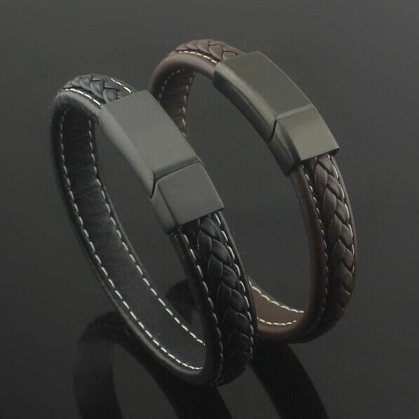Черный/коричневый натуральная кожа титан нержавеющая сталь магнит браслет пряжки ...