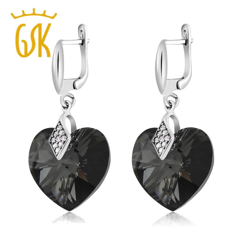 Black Heart Shape Earrings Made With Swarovski Elements<br><br>Aliexpress