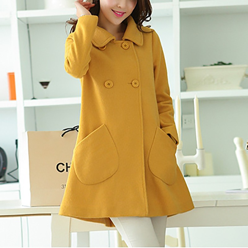 Fashion Women Turn-down Collar Double-breasted Coats woollen cloth coat and long sections woolen coat Jacket