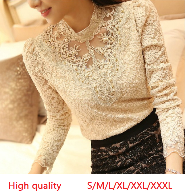 Женская футболка  Lace Chiffon Shirt Women Clothing Basic Shirts Blusas Femininas s/xxxl
