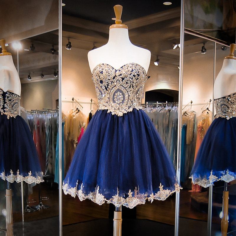 Navy blue summer bridesmaid dresses short with appliques for Blue summer dress for wedding