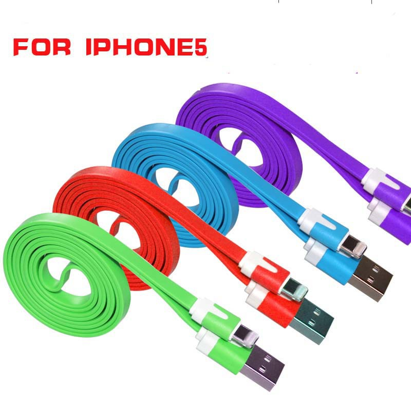 100cm USB Flat Noodle Data Sync Charger Cable for iPhone 5 5S 5C 6 6Plus iPod Touch iPad4(China (Mainland))