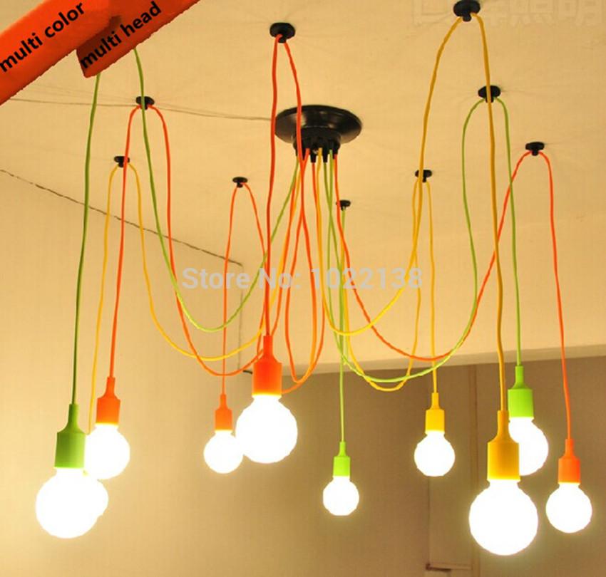 Modern Classic Pendant Lamp Colorful E27 Spider Light Bulb Lamp Holder Group Edison Adjustable Christmas Lighting Fixture<br><br>Aliexpress