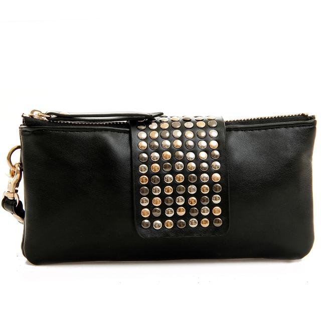 Korean Style PU Leather fashion Handbag designer Rivet Lady wallet Clutch Purse Evening Bags free shipping