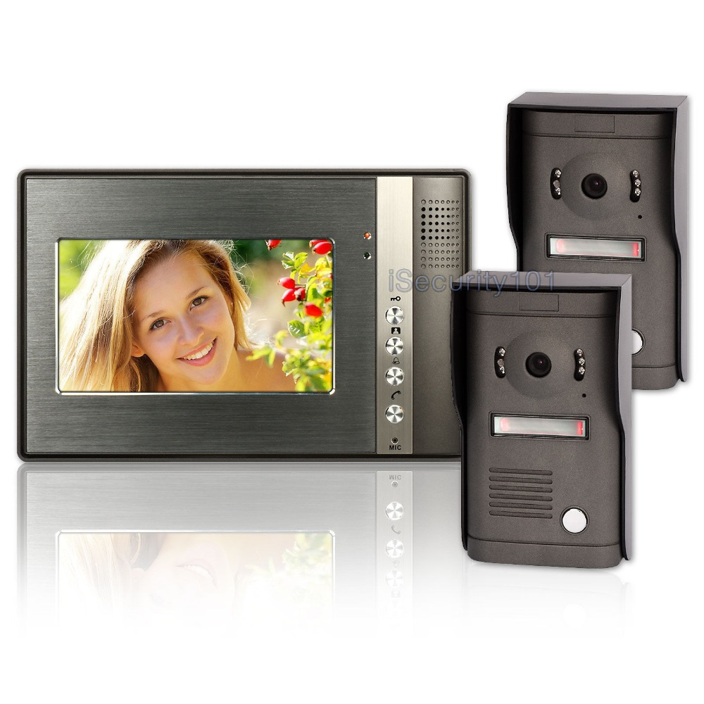 "7"" Wired Video Intercom Door Bell Phone 2 Metal Cameras Access System Night(China (Mainland))"