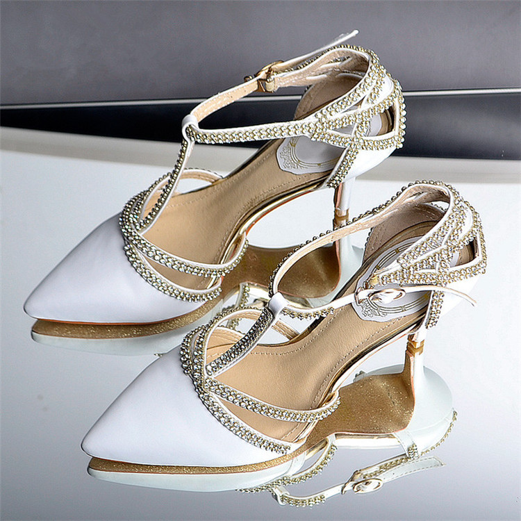 2015 New Handmade Crystal Shoes High Heels Women