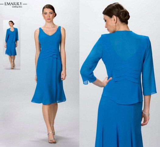 Zz323 элегантный длиной до колен Sleevelss мать невесты платья с курткой 2016 мать невесты платья
