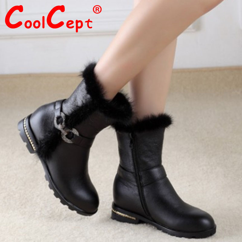 women real genuine leather flat ankle boots cotton snow half short bota quality warm winter boot footwear shoes R7601 size 34-40<br><br>Aliexpress
