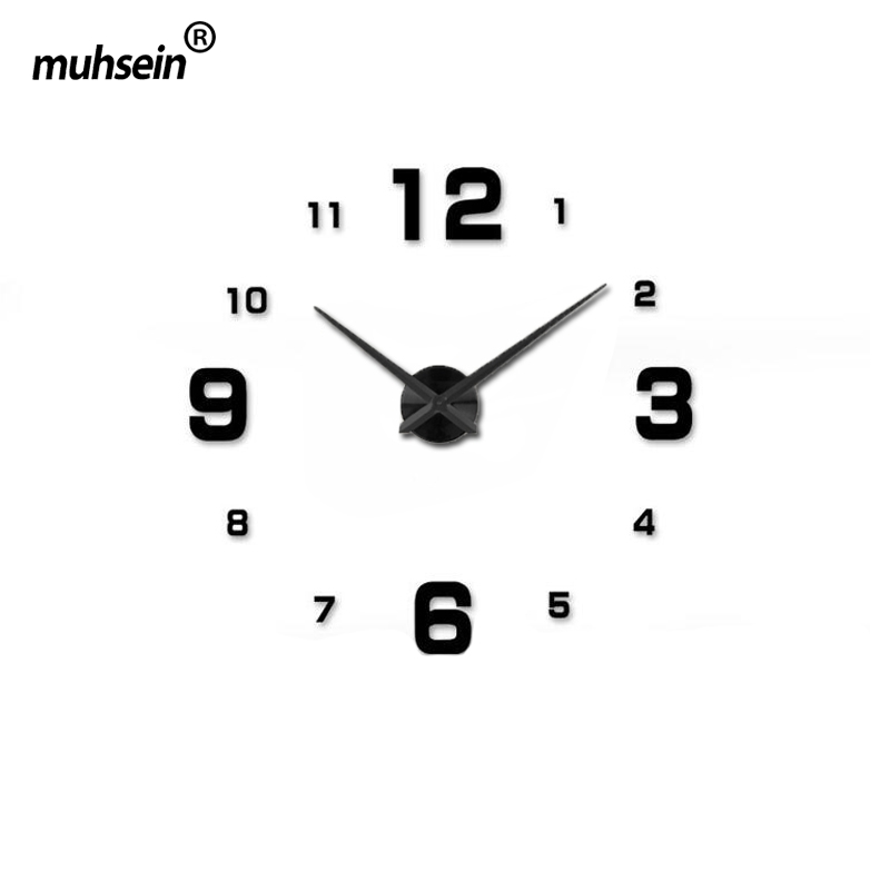Full Black wall clock modern designHome decoration big mirror 3D DIY large decorative wall clocks watch unique gift(China (Mainland))