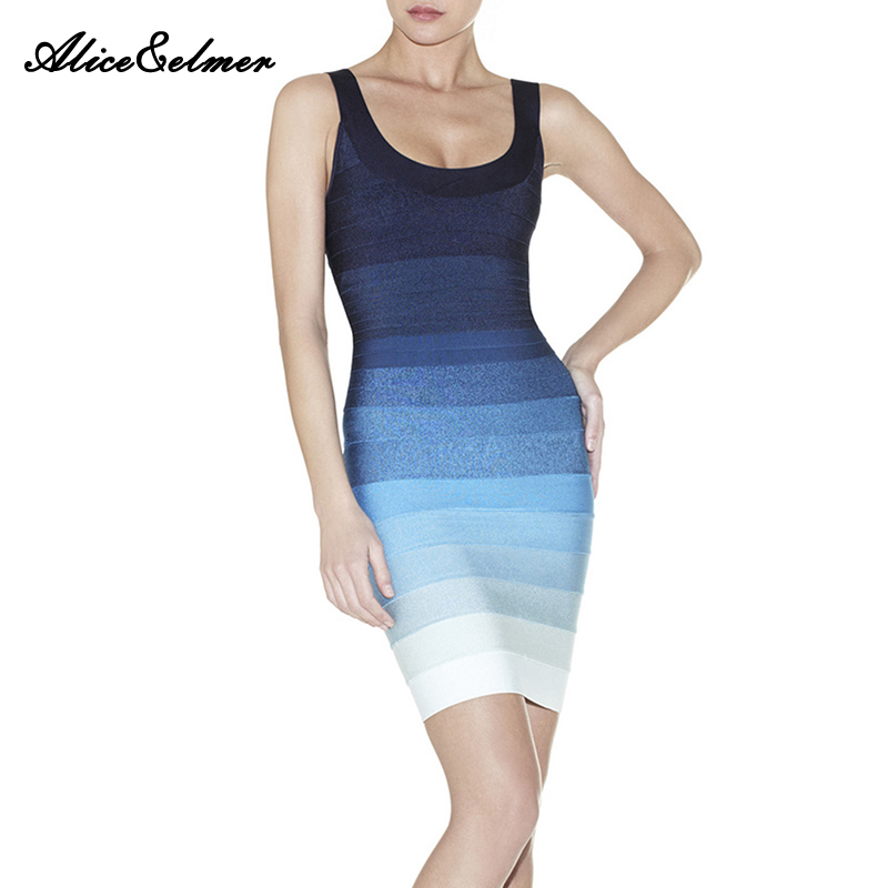 Top Quality  Gradient  Sexy bodycon Dress  Rayon  Knitted Elastic O-Neck  MINI  HL Celebrity  Bandage DressОдежда и ак�е��уары<br><br><br>Aliexpress