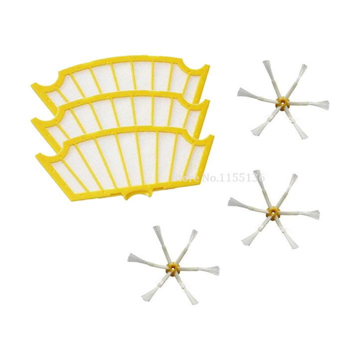 A Set Of 3 Side Brushes & 3 Filters for iRobot Roomba 500 Series 530 550 560 570 Vacuum Cleaner Accessory Kit, 6 Pack #0141(China (Mainland))