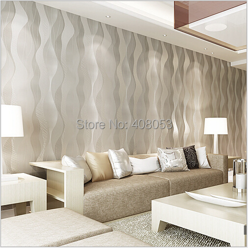 Modern simplicity wavy vertical stripe nonwoven silver for Silver wallpaper living room