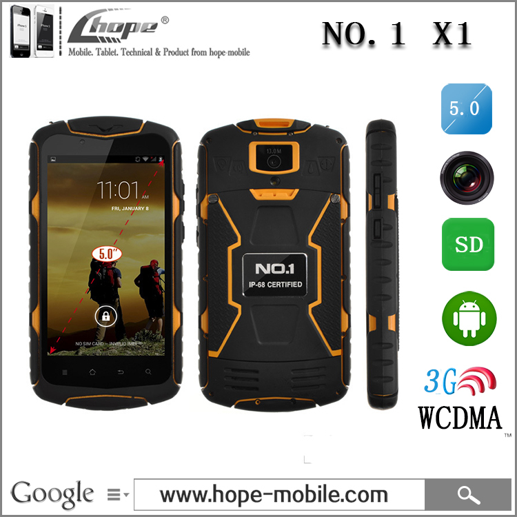 Original NO.1 X1 X-Men IP68 MTK6582 Quad Core 1GB RAM 8GB ROM 3300mAh Battery Waterproof Shockproof Cell Phone Android 4.4 WCDMA(China (Mainland))