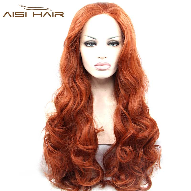 Hot Sales Lace Front Synthetic Wigs Heat Resistant Long Wavy Orange red Full Synthetic Lace Wigs For American Black Women(China (Mainland))