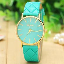 5 colores 2015 ginebra mujeres reloj de cuarzo banda de cuero de moda y ocasional analógica Watche Vogue mujeres se visten de pulsera envío gratuito