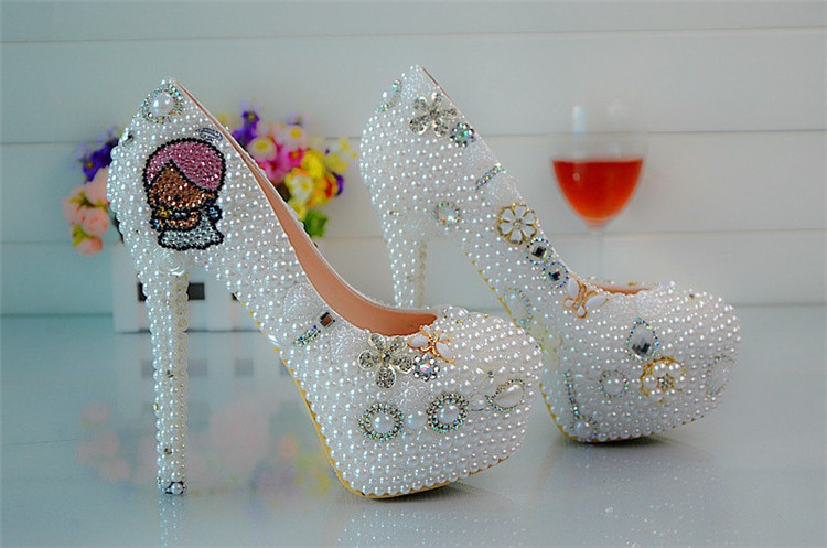 High Heels Round Toe Pearls Wedding Dresses Bridesmaid Shoes Beaded Lady's Formal Shoes Women's Beaded Bridal Evening Prom Party