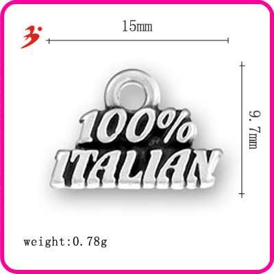 """100% Italian"" word Popular folk style handmade Antique Silver Pendant Charm Pendant alloy jewelry accessories letter DIY(China (Mainland))"