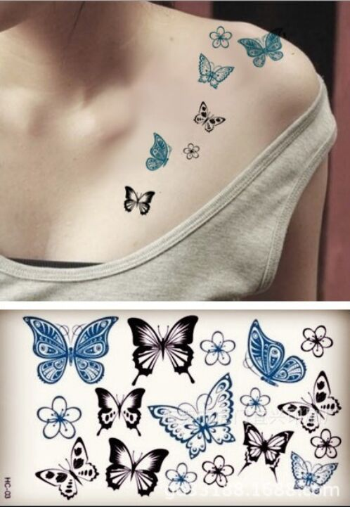 Hc 003 water supply hot batch of butterfly tattoo sticker for Tattoo factory prices