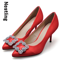 Size 34 41 New Arrival 2016 Fashion Brand Silk Red Wedding Shoes Sexy Rhinestone Thin High