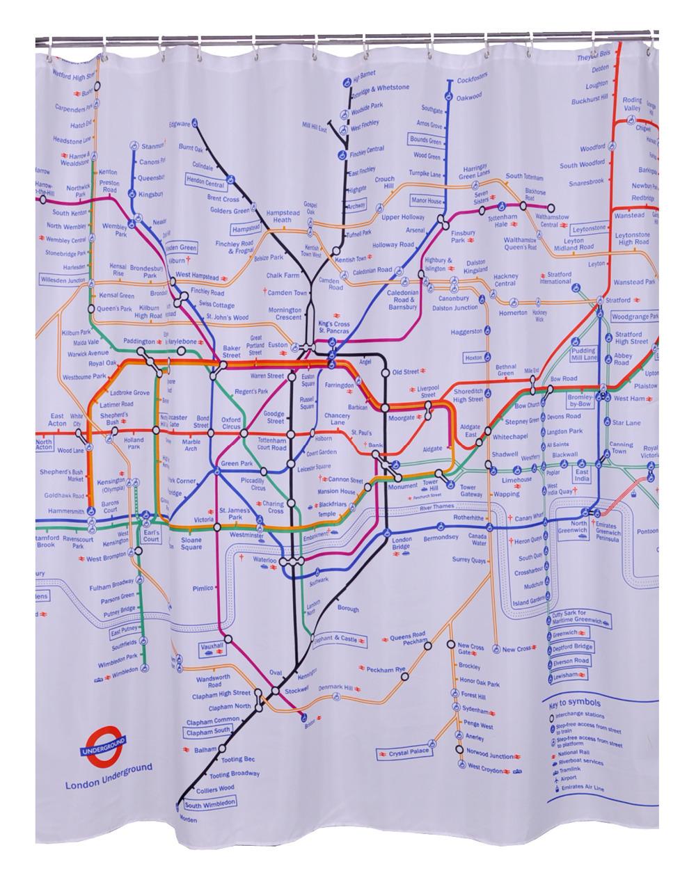 Cortinas De Baño Londres:100% de tela de poliéster londres subterráneo Mpa cortinas de ducha