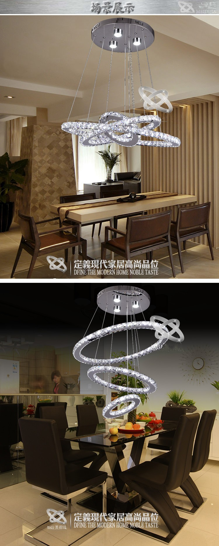 New 3 circle K9 Crystal Chandelier high quality Stainless steel Five rings Bedroom lamp Hall lamps LED lights