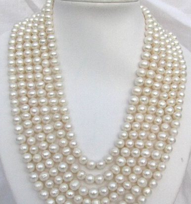 huij 004902 8-9mm round white freshwater pearl necklace 120CM<br><br>Aliexpress