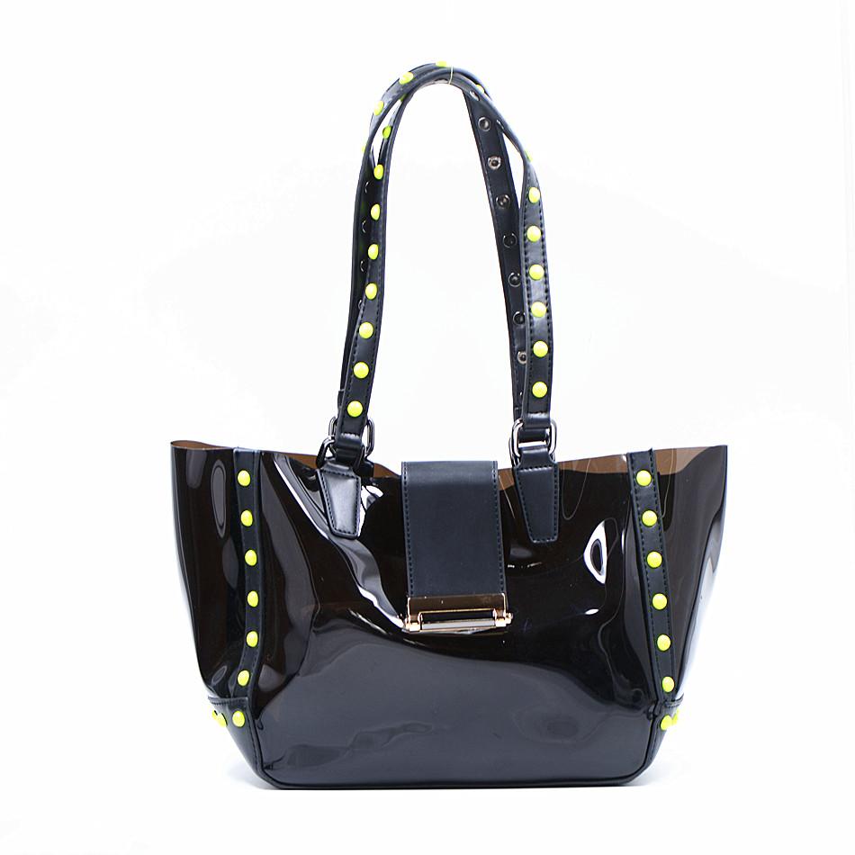 2016 New Direct Selling Tote Pvc Bolsa Bolsos Cool Rivet Jelly Bag Portable Transparent Plastic Big Tote Bags For Women Brach(China (Mainland))