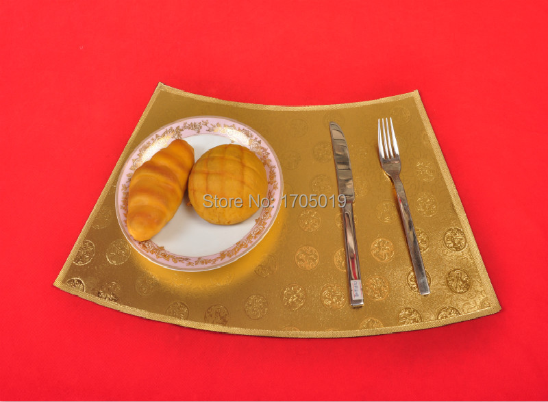 Dinner PVC placemat gold vintage plastic dinning mat Chinese plate mat eat tableware pad heat insulation sector size customized(China (Mainland))