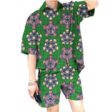 Men's fashion african printed shirts and shorts men dashiki set africa style summer loose shirt