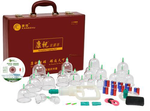 Free Shipping Chinese cupping KangZhu Deluxe Vacuum Cupping Set 24 Cups Leather Case cupping therapy(China (Mainland))